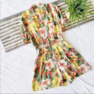 1990s Tropical Print Romper